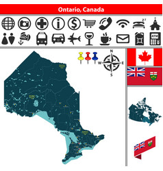 Ontario with cities canada vector