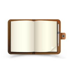 open brown notebook vector image vector image