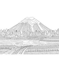 Printable coloring page for adults with mountain vector image vector image