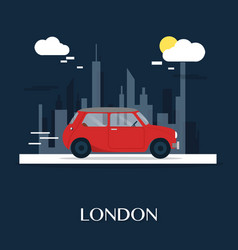 red car at london museum design vector image vector image