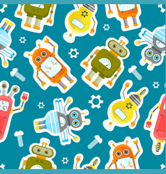 Robots character stickers seamless background vector