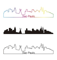 Sao paulo skyline linear style with rainbow vector