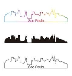 Sao Paulo skyline linear style with rainbow vector image