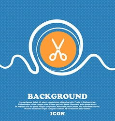 Scissors icon sign Blue and white abstract vector image