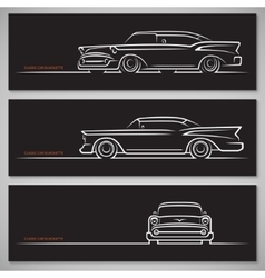 Set of classic car silhouettes in american style vector