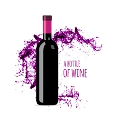 Red wine splash with bottle vector