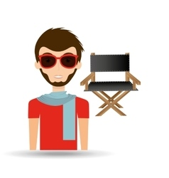 man hipster concept movie cinema director chair vector image