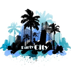 Tropical urban party city background vector image