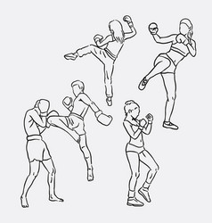 Thai boxing sport hand drawing vector