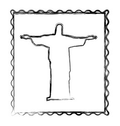 blurred silhouette frame of christ redeemer vector image