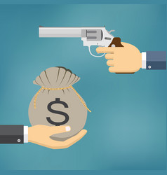 Hand holding pistol and another hand giving money vector