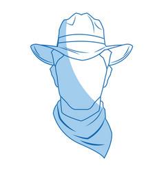 silhouette man cowboy wear hat image vector image