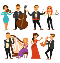 Orchestra singers and musicians or music vector