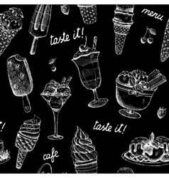 Icecream seamless chalkboard pattern vector