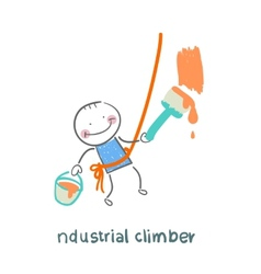 Industrial climber paints the wall vector