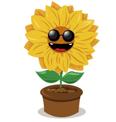 Funny sunflower wearing sunglasses vector