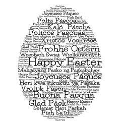 Easter egg made from happy easter in 12 different vector