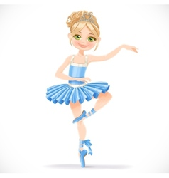 Cute ballerina girl dancing in blue dress vector image