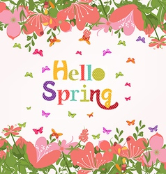 Hello spring with flower vintage vector