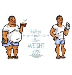 Man before and after weight loss vector