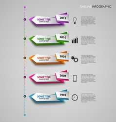 Time line info graphic with colored folded design vector