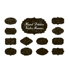 Set of hand drawn vintage stickers frames vector