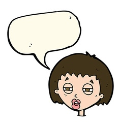 Cartoon woman narrowing eyes with speech bubble vector