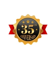 35 years anniversary golden label vector