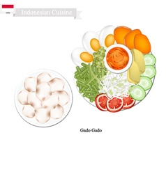 Gado gado or indonesian salad with peanut dressing vector