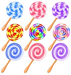 Colorful candy lollipops set of icons vector