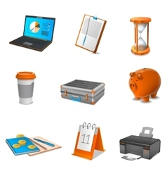 Business realistic icons set vector