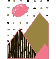 Abstract geometric composition Hand drawn vintage vector image