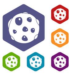 Alone planet icons set hexagon vector