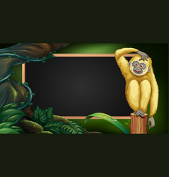 Border template with gibbon in the wood vector