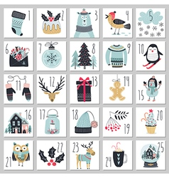 Christmas advent calendar hand drawn style vector