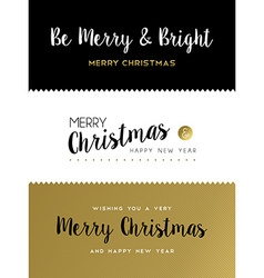 Christmas and new year gold lettering set vector