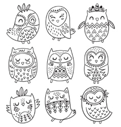 Collection of hand drawn owls in tribal vector