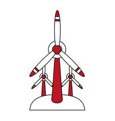 Color silhouette image cartoon set wind turbine vector