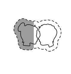couple heads love card vector image