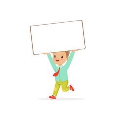 cute boy character holding white empty message vector image