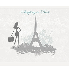 Fashion girl silhouette shopping in paris - poster vector