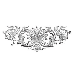 Floral tailpiece with a rising sun behind leaves vector