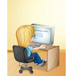 Girl using computer vector image