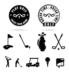 Golf black icon and symbol vector