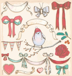 Hand drawn vintage bird ribbons and bows set vector