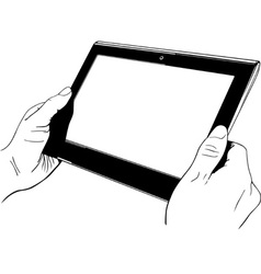 Hands holding digital tablet pc vector image vector image