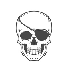Human evil skull Jolly Roger with eyepatch vector image vector image