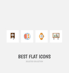 Icon flat life set of pendulum breakfast chart vector