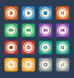 media player buttons flat design vector image