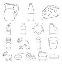 milk product outline icons in set collection for vector image vector image